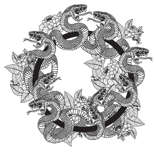 Tatouage serpent et fleurs Vecteur Premium