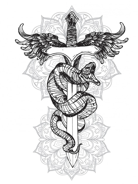Tatouage serpent Vecteur Premium