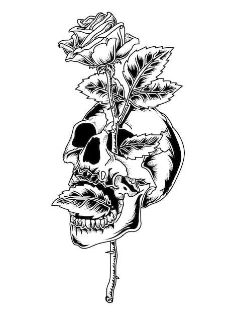 Tatouage Et T Shirt Design Crâne Noir Et Blanc Et Rose Premium Vecteur Premium