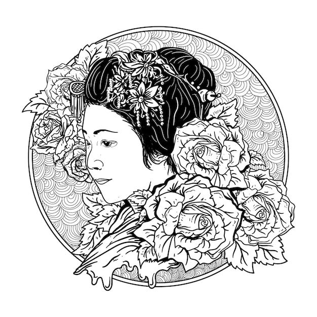 Tatouage Et T-shirt Design Noir Et Blanc Illustration Dessinée à La Main Geisha Et Roses Vecteur Premium