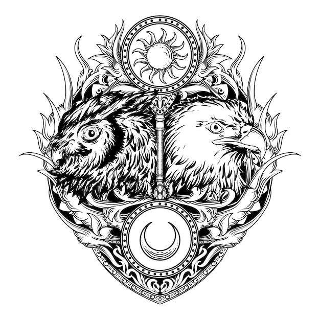 Tatouage Et T-shirt Design Noir Et Blanc Illustration Dessinée à La Main Hibou Et Aigle Gravure Ornement Vecteur Premium