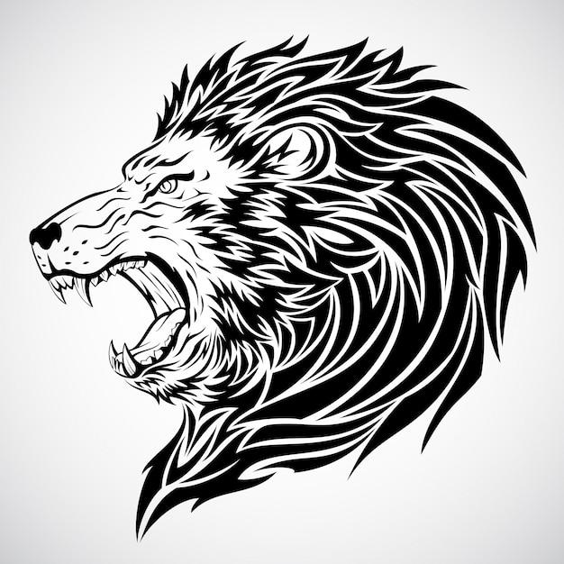 Tatouage tête de lion Vecteur Premium
