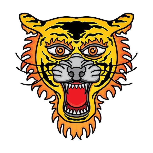 Tatouage traditionnel tête de tigre Vecteur Premium