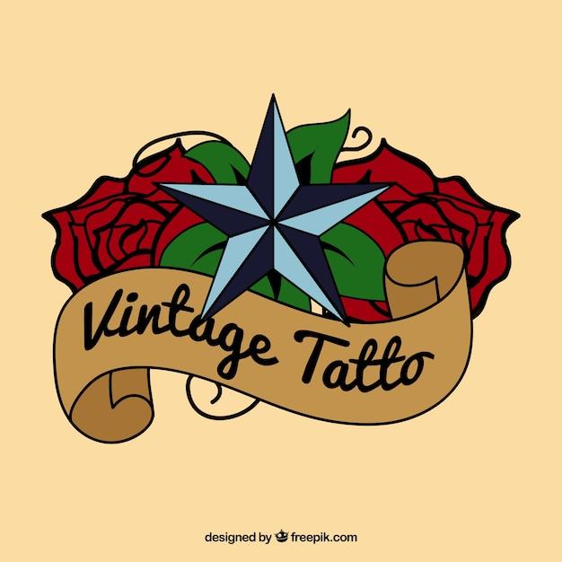 tatouage vintage avec une étoile au,dessus des roses Vecteur gratuit