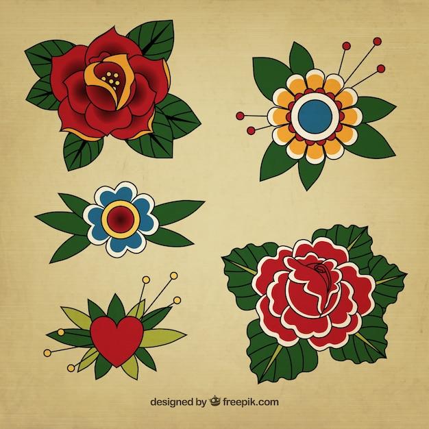 Tatouages floraux vintage Vecteur gratuit