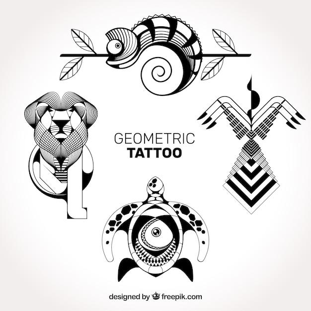 Tatouages géométriques détaillés Vecteur gratuit