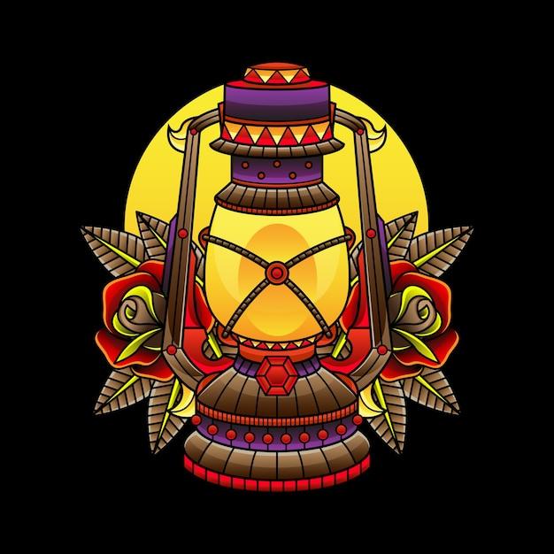 Tatouages De Lampe à Huile Traditionnels Vecteur Premium