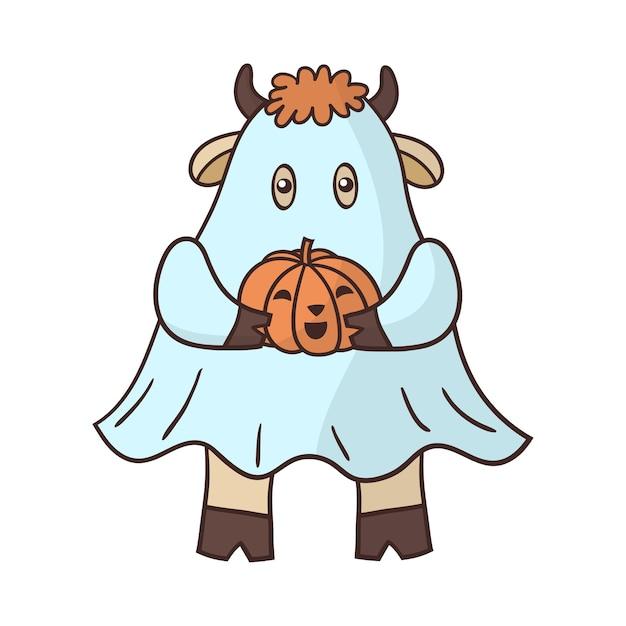 Taureau De Dessin Animé Habillé En Fantôme Avec Une Citrouille Pour Halloween. Vecteur Premium