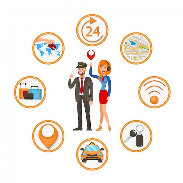 Taxi commande app vector plate cartoon illustration Vecteur Premium