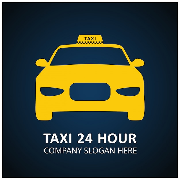 Taxi Icon Taxi Service 24 Hour Serrvice Taxi Car Blue And Black Background Vecteur gratuit