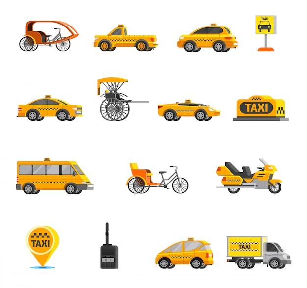Taxi icons set Vecteur gratuit