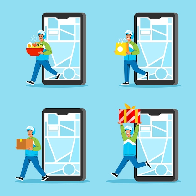 Taxi Moto Livrer Un Paquet Passant Par Téléphone Cellulaire Vecteur Premium