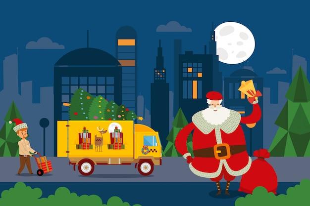 Taxi Set, Santa Utilise Le Camion Pour Faire Des Cadeaux Illustration Le Livreur Prend Des Boîtes Sur La Brouette De La Remorque Vecteur Premium