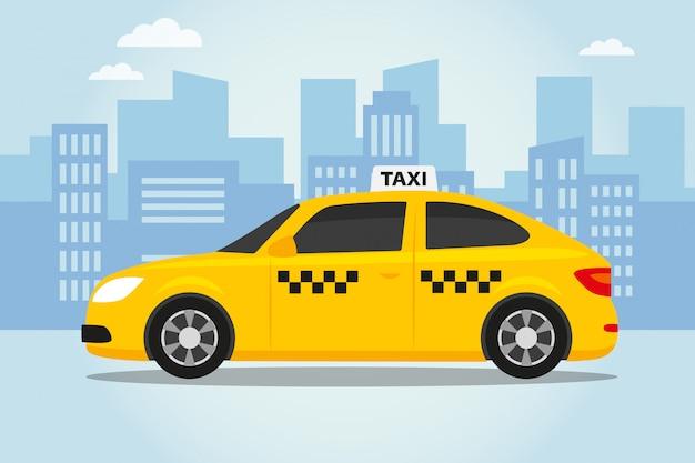 Taxi Sur La Ville Vecteur Premium