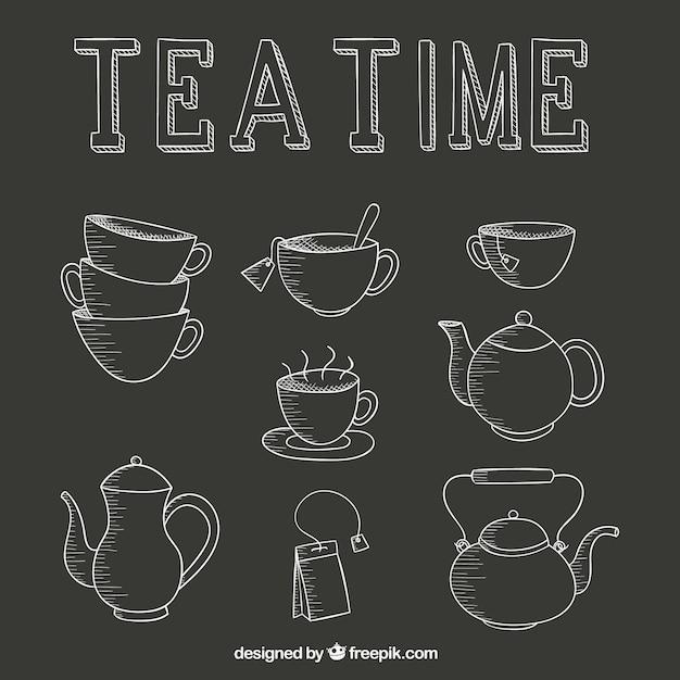 Tea Time Icons Set Vecteur Premium