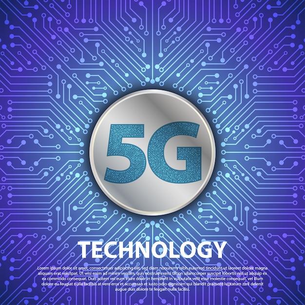 La Technologie 5g Avec Le Circuit Imprimé Est à L'arrière-plan Vecteur Premium