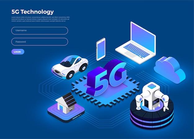 Technologie 5g Isométrique Vecteur Premium