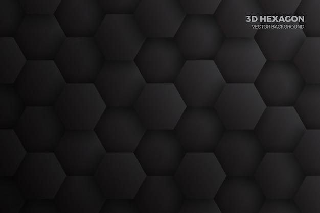 Technologie Abstrait Noir Hexagones 3d Vecteur Premium