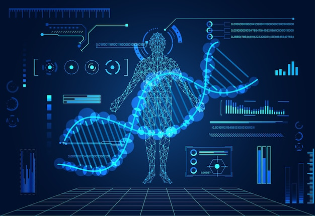Technologie Abstraite Concept Corps Humain Numérique Soins De Santé Vecteur Premium