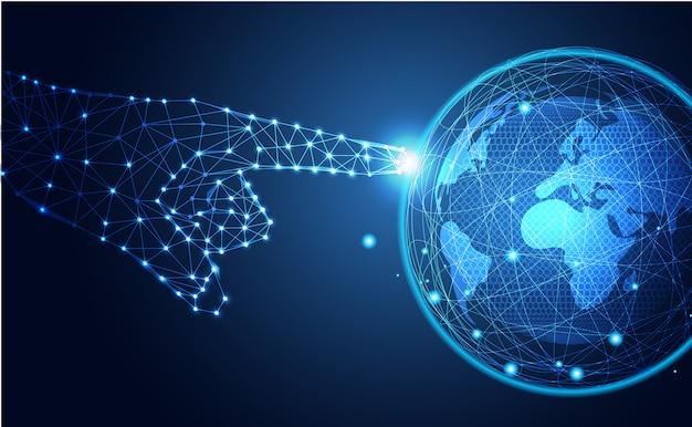 Technologie abstraite toucher le monde Vecteur Premium