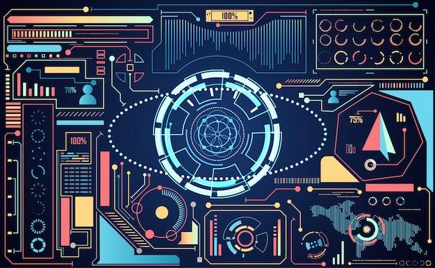 Technologie abstraite ui concept futuriste interface ai hud Vecteur Premium