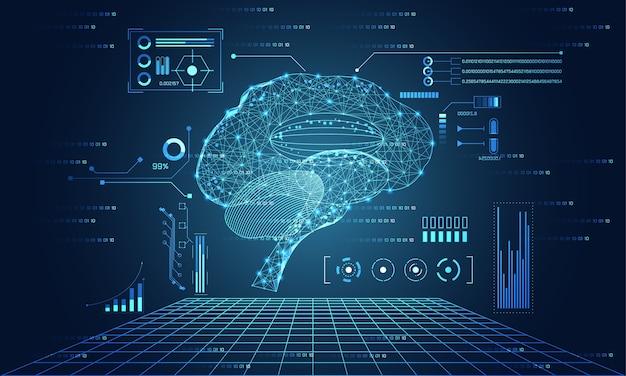 Technologie Abstraite Ui Futuriste Cerveau Hud Interface Hologramme éléments | Vecteur Premium