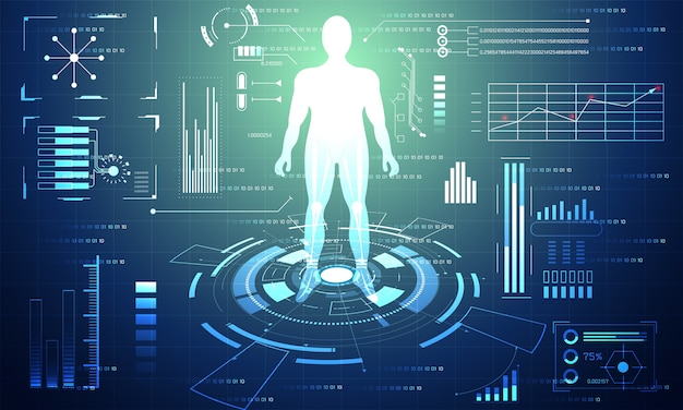 Technologie Abstraite Ui Interface Hud Futuriste Vecteur Premium