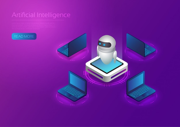 Technologie Ai Isométrique Vecteur Premium