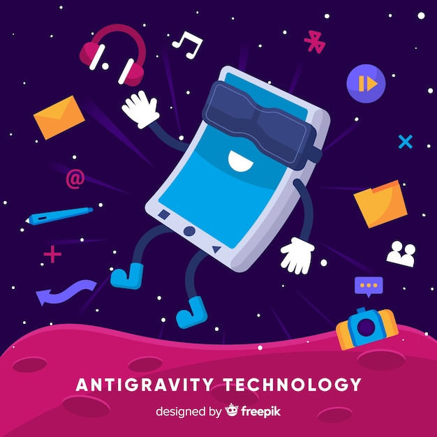 Technologie anti-gravité avec éléments Vecteur gratuit