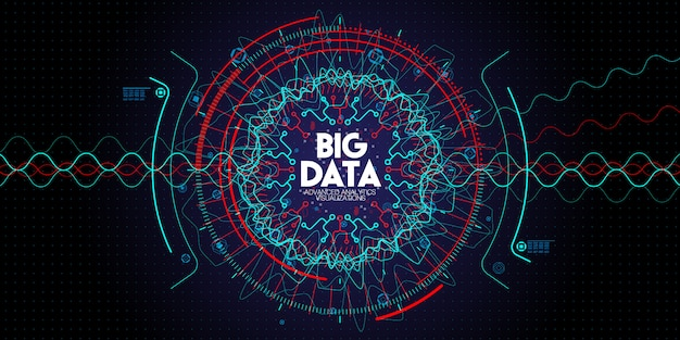 Technologie avancée des données volumineuses et visualisation avec élément fractal avec tableau de lignes et de points dans l'obscurité Vecteur Premium