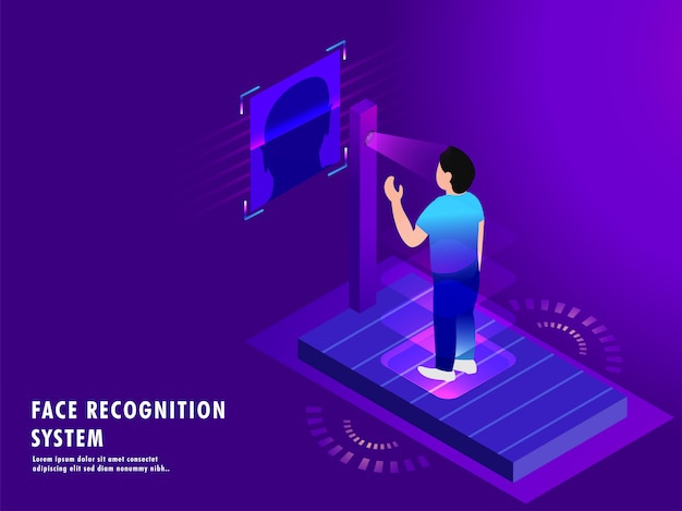 Technologie biométrique futuriste Vecteur Premium
