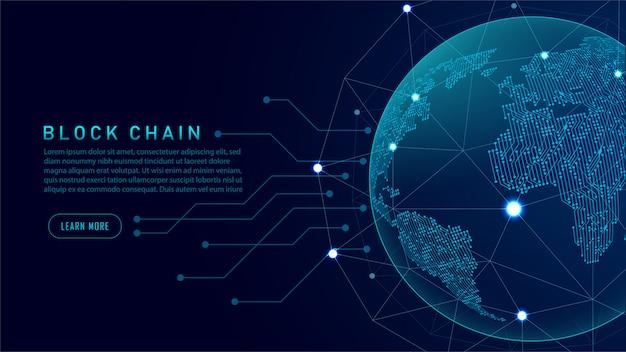 Technologie blockchain avec concept de connexion global Vecteur Premium