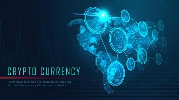 Technologie Blockchain Avec Connexion Globale Vecteur Premium
