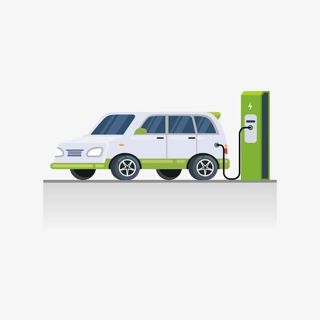 Technologie De Charge De Véhicule électrique à L'illustration De La Zone De Stationnement Vecteur Premium