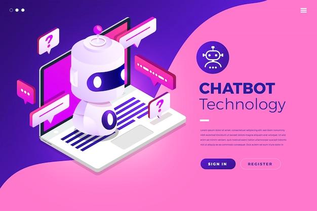 Technologie De Chatbot Isométrique Vecteur Premium
