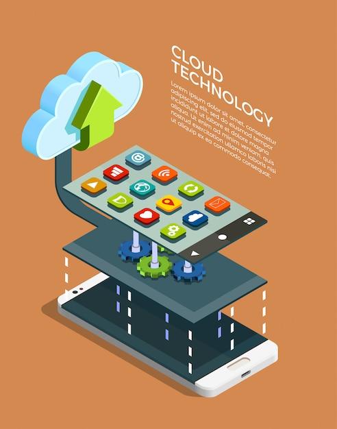 Technologie de cloud computing isométrique Vecteur gratuit