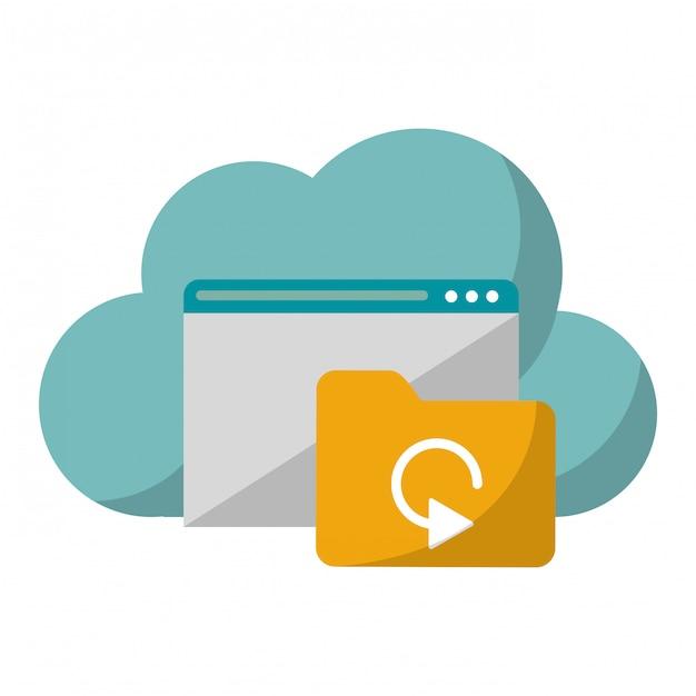 Technologie de cloud computing Vecteur Premium