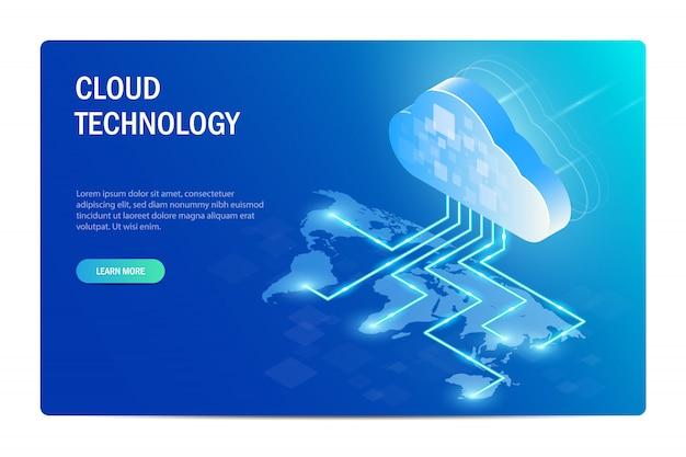 Technologie Cloud. Distribution Des Technologies De L'information Dans Le Monde. Carte Du Monde. Vecteur Premium
