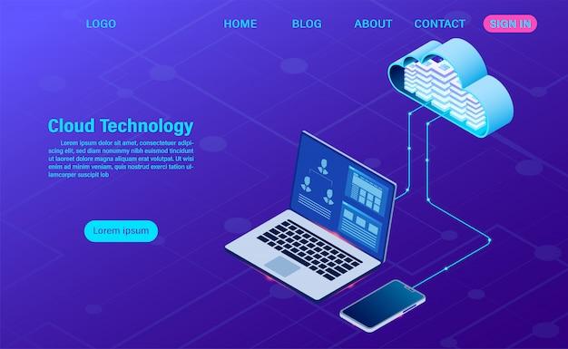 Technologie cloud moderne et mise en réseau. technologie informatique en ligne. concept de traitement de gros flux de données, illustration des services de données internet Vecteur Premium