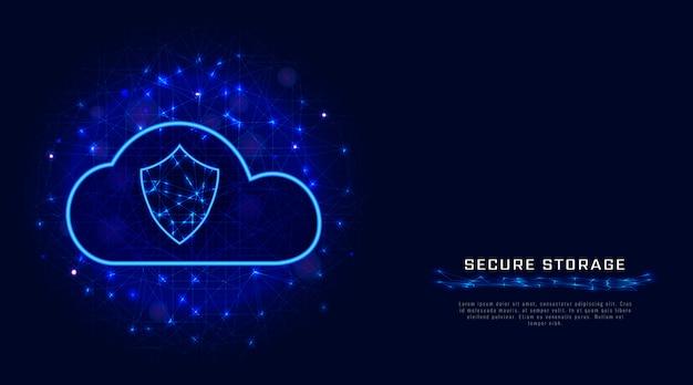 Technologie cloud sécurisée. fond géométrique protégé de stockage de données numériques. Vecteur Premium