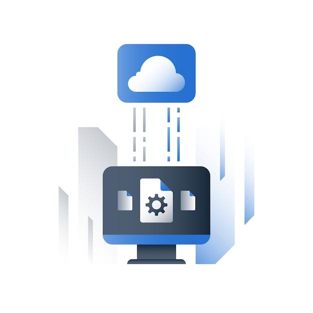 Technologie Cloud, Solutions D'entreprise, échange De Données, Stockage De Fichiers De Documents Vecteur Premium