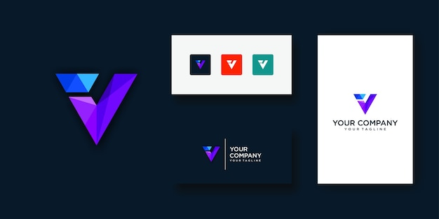 Technologie De Conception De Logo Lettre V Vecteur Premium