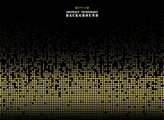 Technologie de couleur or motif carré pixel. Vecteur Premium