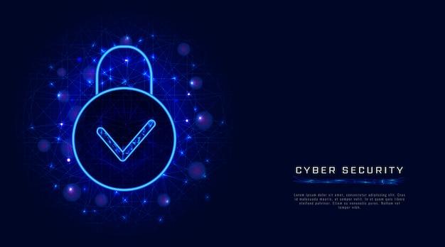 Technologie De Cybersécurité Et Protection Sécurisée De La Confidentialité Des Données Dans Le Cloud, Icône De Cadenas Et Coche Vecteur Premium