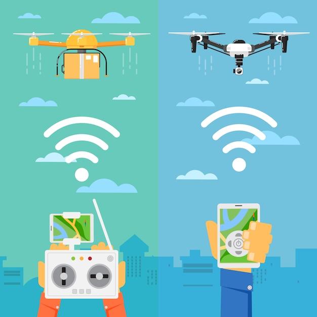 Technologie des drones avec des robots volants Vecteur Premium