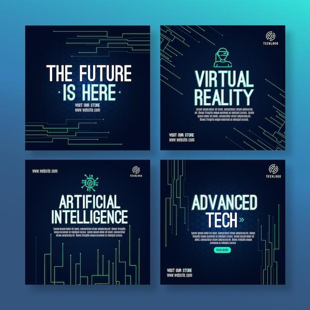 Technologie Et Futur Modèle De Publication Instagram Vecteur gratuit