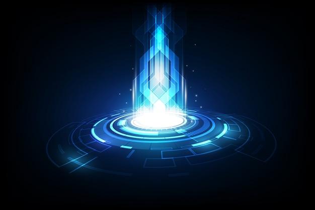 Technologie future abstraite, fond télécom électrique Vecteur Premium