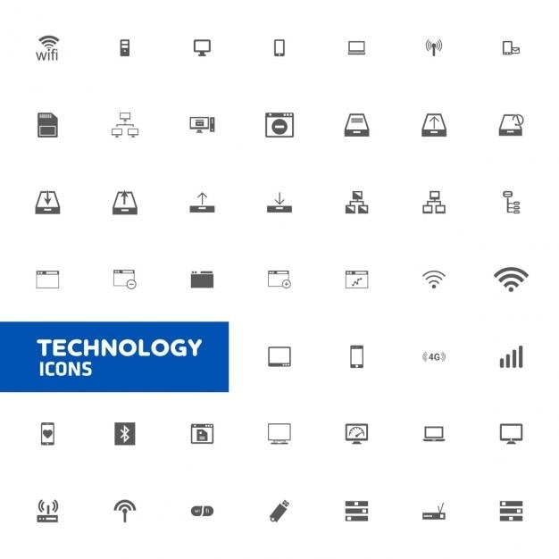 Technologie Icon Set Vecteur gratuit
