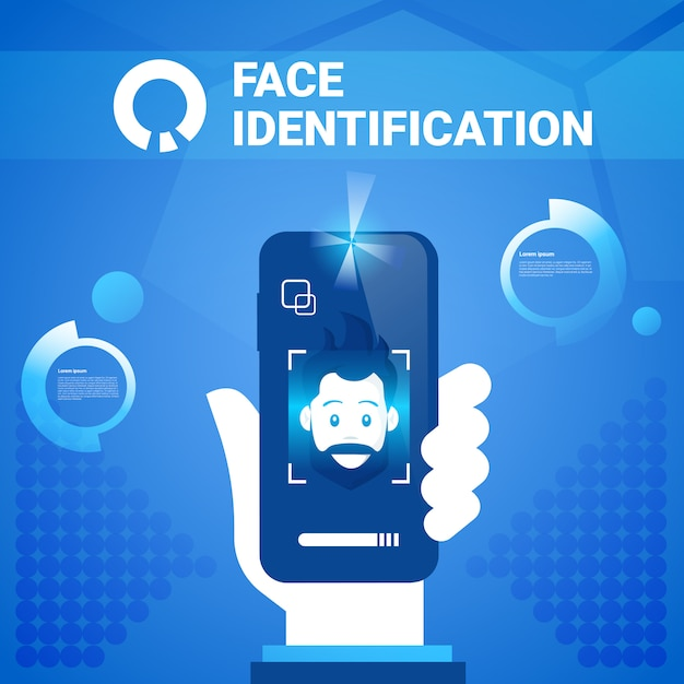 Technologie d'identification de visage de téléphone intelligent tenue dans la main scannig système de contrôle d'accès pour homme concept de reconnaissance biométrique Vecteur Premium