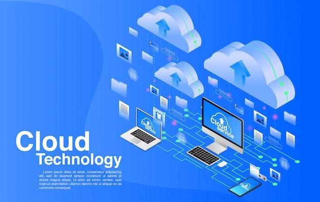 Technologie De L'informatique En Nuage. Vecteur Premium